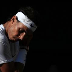 LONDON, ENGLAND - JULY 12: Rafael Nadal (ESP) looks dejected against Roger Federer (SUI) during their Gentlemen's Singles Semi Final match on Day 11 of The Championships - Wimbledon 2019 at the All England Lawn Tennis and Croquet Club on July 12, 2019 in London, England. (Photo by Simon Stacpoole/Offside/Getty Images)