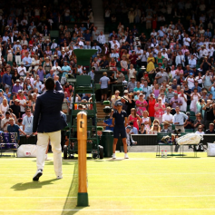 LONDON, ENGLAND - JULY 12: The chair umpire performs the coin toss ahead of the Men's Singles semi-final match between Roger Federer of Switzerland and Rafael Nadal of Spain during Day eleven of The Championships - Wimbledon 2019 at All England Lawn Tennis and Croquet Club on July 12, 2019 in London, England. (Photo by Clive Brunskill/Getty Images)