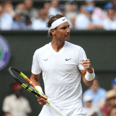 LONDON, ENGLAND - JULY 12: Rafael Nadal (ESP) celebrates during his match against Roger Federer (SUI) in their Gentleman's Singles Semi-Final match during Day 11 of The Championships - Wimbledon 2019 at All England Lawn Tennis and Croquet Club on July 12, 2019 in London, England. (Photo by Rob Newell - CameraSport via Getty Images)