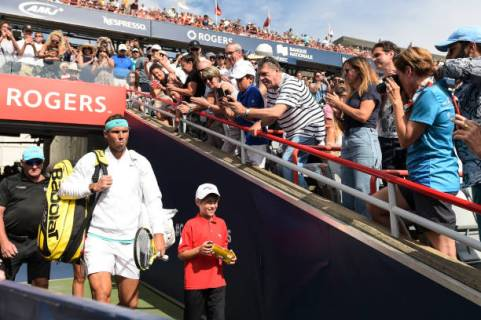 MONTREAL, QC - AUGUST 11: Rafael Nadal of Spain walks out of the player tunnel during the mens singles final against Daniil Medvedev of Russia on day 10 of the Rogers Cup at IGA Stadium on August 11, 2019 in Montreal, Quebec, Canada. (Photo by Minas Panagiotakis/Getty Images)