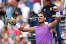 NEW YORK, NEW YORK - AUGUST 31: Rafael Nadal of Spain celebrates winning his Men's Singles third round match against Hyeon Chung of South Korea on day six of the 2019 US Open at the USTA Billie Jean King National Tennis Center on August 31, 2019 in Queens borough of New York City. (Photo by Elsa/Getty Images)