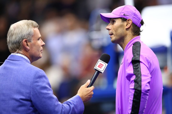 NEW YORK, NEW YORK - AUGUST 27: Rafael Nadal of Spain is interviewed after defeating John Millman of Australia during their Men's Singles first round match on day two of the 2019 US Open at the USTA Billie Jean King National Tennis Center on August 27, 2019 in the Flushing neighborhood of the Queens borough of New York City. (Photo by Clive Brunskill/Getty Images)