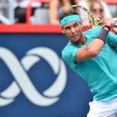 MONTREAL, QC - AUGUST 07: Rafael Nadal of Spain looks on after hitting a return against Daniel Evans of Great Britain during day 6 of the Rogers Cup at IGA Stadium on August 7, 2019 in Montreal, Quebec, Canada. (Photo by Minas Panagiotakis/Getty Images)