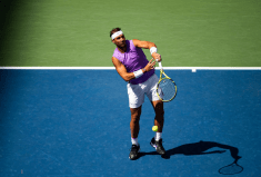 NEW YORK, NEW YORK - AUGUST 31: Rafael Nadal of Spain hits a forehand against Hyeon Chung of South Korea in the third round on Arthur Ashe Stadium at the USTA Billie Jean King National Tennis Center on August 31, 2019 in New York City. (Photo by TPN/Getty Images)