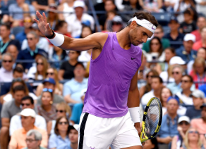NEW YORK, NEW YORK - AUGUST 31: Rafael Nadal of Spain reacts during his Men's Singles third round match against Hyeon Chung of South Korea on day six of the 2019 US Open at the USTA Billie Jean King National Tennis Center on August 31, 2019 in Queens borough of New York City. (Photo by Emilee Chinn/Getty Images)