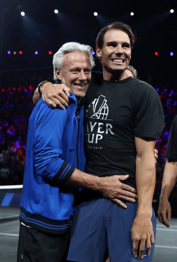 GENEVA, SWITZERLAND - SEPTEMBER 22: Rafael Nadal of Spain and Bjorn Borg captain celebrate after Alexander Zverev of Team Europe defeating Milos Raonic of Team World during Day Three of the Laver Cup 2019 at Palexpo on September 22, 2019 in Geneva, Switzerland. The Laver Cup will see six players from the rest of the World competing against their counterparts from Europe. Team World is captained by John McEnroe and Team Europe is captained by Bjorn Borg. The tournament runs from September 20-22. (Photo by Julian Finney/Getty Images for Laver Cup)