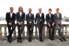 GENEVA, SWITZERLAND - SEPTEMBER 18: (L-R) Roger Federer, Stefanos Tsitsipas, Fabio Fognini, Rafael Nadal, Dominic Thiem and Alexander Zverev, of Team Europe pose for a photo prior to the Laver Cup 2019 at Palexpo, on September 18, 2019 in Geneva, Switzerland. (The Laver Cup consists of six players from the rest of the World competing against their counterparts from Europe. John McEnroe will captain the Rest of the World team and Europe will be captained by Bjorn Borg) The event runs from 20-22 Sept. (Photo by Clive Brunskill/Getty Images for Laver Cup)