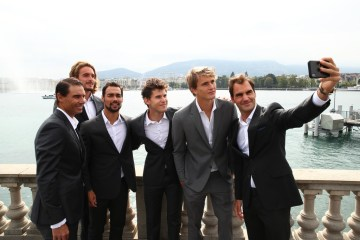 GENEVA, SWITZERLAND - SEPTEMBER 18: Roger Federer of Team Europe takes a selfie with teammates Alexander Zverev, Dominic Thiem, Fabio Fognini, Stefanos Tsitsipas, and Rafael Nadal prior to the Laver Cup 2019 at Palexpo, on September 18, 2019 in Geneva, Switzerland. (The Laver Cup consists of six players from the rest of the World competing against their counterparts from Europe. John McEnroe will captain the Rest of the World team and Europe will be captained by Bjorn Borg) The event runs from 20-22 Sept. (Photo by Clive Brunskill/Getty Images for Laver Cup)