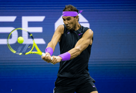 NEW YORK, NEW YORK - SEPTEMBER 06: Rafael Nadal of Spain hits a backhand against Matteo Berrettini of Italy at Arthur Ashe Stadium at the USTA Billie Jean King National Tennis Center on September 06, 2019 in New York City. (Photo by TPN/Getty Images)