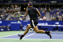 NEW YORK, NEW YORK - SEPTEMBER 06: Rafael Nadal of Spain returns a shot during his Men's Singles semi-final match against Matteo Berrettini of Italy on day twelve of the 2019 US Open at the USTA Billie Jean King National Tennis Center on September 06, 2019 in the Queens borough of New York City. (Photo by Al Bello/Getty Images)