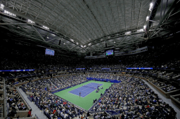 NEW YORK, NEW YORK - SEPTEMBER 06: A general view of Arthur Ashe Stadium during the Men's Singles semi-final match between Matteo Berrettini of Italy and Rafael Nadal of Spain on day twelve of the 2019 US Open at the USTA Billie Jean King National Tennis Center on September 06, 2019 in the Queens borough of New York City. (Photo by Mike Stobe/Getty Images)