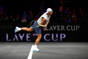 GENEVA, SWITZERLAND - SEPTEMBER 19: Rafael Nadal of Team Europe serves during a practice session ahead of the Laver Cup 2019 at Palexpo on September 19, 2019 in Geneva, Switzerland. The Laver Cup will see six players from the rest of the World competing against their counterparts from Europe. Team World is captained by John McEnroe and Team Europe is captained by Bjorn Borg. The tournament runs from September 20-22. (Photo by Julian Finney/Getty Images for Laver Cup)