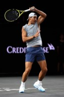 GENEVA, SWITZERLAND - SEPTEMBER 19: Rafael Nadal of Team Europe plays a forehand during a practice session ahead of the Laver Cup 2019 at Palexpo on September 19, 2019 in Geneva, Switzerland. The Laver Cup will see six players from the rest of the World competing against their counterparts from Europe. Team World is captained by John McEnroe and Team Europe is captained by Bjorn Borg. The tournament runs from September 20-22. (Photo by Julian Finney/Getty Images for Laver Cup)