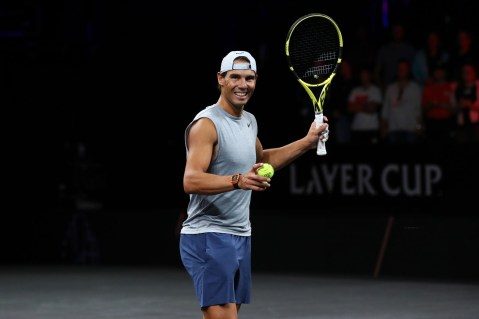 GENEVA, SWITZERLAND - SEPTEMBER 19: Rafael Nadal of Team Europe looks on during a practice session ahead of the Laver Cup 2019 at Palexpo on September 19, 2019 in Geneva, Switzerland. The Laver Cup will see six players from the rest of the World competing against their counterparts from Europe. Team World is captained by John McEnroe and Team Europe is captained by Bjorn Borg. The tournament runs from September 20-22. (Photo by Julian Finney/Getty Images for Laver Cup)