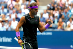 NNEW YORK, NEW YORK - SEPTEMBER 08: Rafael Nadal of Spain celebrates a point during his Men's Singles final match against Daniil Medvedev of Russia on day fourteen of the 2019 US Open at the USTA Billie Jean King National Tennis Center on September 08, 2019 in the Queens borough of New York City. (Photo by Mike Stobe/Getty Images)