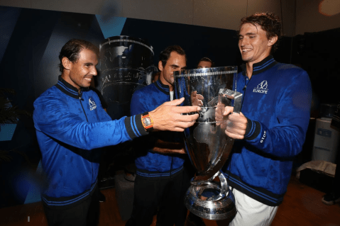 GENEVA, SWITZERLAND - SEPTEMBER 22: Rafael Nadal, Roger Federer and Alexander Zverev of Team Europe celebrate with the Laver Cup trophy in the locker room after winning the Laver Cup during Day Three of the Laver Cup 2019 at Palexpo on September 22, 2019 in Geneva, Switzerland. The Laver Cup will see six players from the rest of the World competing against their counterparts from Europe. Team World is captained by John McEnroe and Team Europe is captained by Bjorn Borg. The tournament runs from September 20-22. (Photo by Clive Brunskill/Getty Images for Laver Cup )