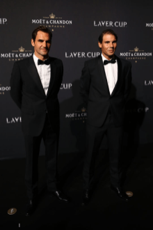 GENEVA, SWITZERLAND - SEPTEMBER 19: Roger Federer and Rafael Nadal of Team Europe pose for a photo on the black carpet as they arrive at HEAD Geneve for the Laver Cup Gala ahead of the Laver Cup 2019 at Palexpo on September 19, 2019 in Geneva, Switzerland. The Laver Cup will see six players from the rest of the World competing against their counterparts from Europe. Team World is captained by John McEnroe and Team Europe is captained by Bjorn Borg. The tournament runs from September 20-22. (Photo by Clive Brunskill/Getty Images for Laver Cup)