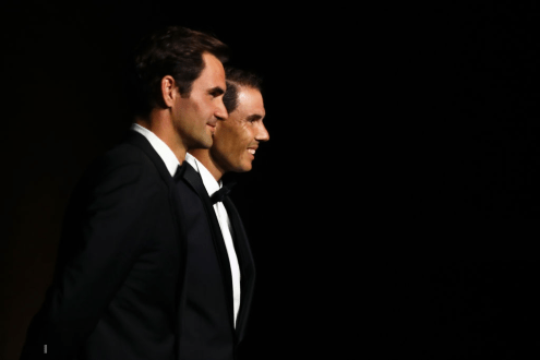 GENEVA, SWITZERLAND - SEPTEMBER 19: Roger Federer and Rafael Nadal of Team Europe pose for a photo on the black carpet as they arrive at HEAD Geneve for the Laver Cup Gala ahead of the Laver Cup 2019 at Palexpo on September 19, 2019 in Geneva, Switzerland. The Laver Cup will see six players from the rest of the World competing against their counterparts from Europe. Team World is captained by John McEnroe and Team Europe is captained by Bjorn Borg. The tournament runs from September 20-22. (Photo by Julian Finney/Getty Images for Laver Cup)