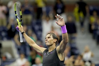 NEW YORK, NEW YORK - SEPTEMBER 04: Rafael Nadal of Spain celebrates his match win over Diego Schwartzman of Argentina on day ten of the 2019 US Open at the USTA Billie Jean King National Tennis Center on September 04, 2019 in the Queens borough of New York City. (Photo by Elsa/Getty Images)