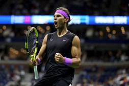 NEW YORK, NEW YORK - SEPTEMBER 06: Rafael Nadal of Spain celebrates a point during his Men's Singles semi-final match against Matteo Berrettini of Italy on day twelve of the 2019 US Open at the USTA Billie Jean King National Tennis Center on September 06, 2019 in the Queens borough of New York City. (Photo by Al Bello/Getty Images)