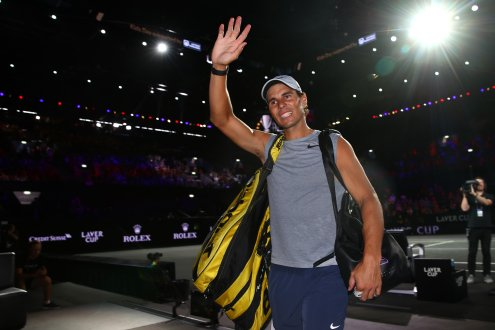 GENEVA, SWITZERLAND - SEPTEMBER 19: Rafael Nadal of Team Europe acknowledges the fans as he walks off the court following a practice session ahead of the Laver Cup 2019 at Palexpo on September 19, 2019 in Geneva, Switzerland. The Laver Cup will see six players from the rest of the World competing against their counterparts from Europe. Team World is captained by John McEnroe and Team Europe is captained by Bjorn Borg. The tournament runs from September 20-22. (Photo by Julian Finney/Getty Images for Laver Cup)