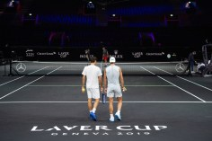 GENEVA, SWITZERLAND - SEPTEMBER 18: Roger Federer (L) and Rafael Nadal of Team Europe take part in a practice session during previews ahead of the Laver Cup 2019 at Palexpo on September 18, 2019 in Geneva, Switzerland. The Laver Cup consists of six players from the rest of the World competing against their counterparts from Europe. John McEnroe will captain the Rest of the World team and Europe will be captained by Bjorn Borg. The event runs from 20-22 Sept. (Photo by Robert Hradil/Getty Images for Laver Cup)