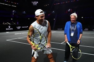 GENEVA, SWITZERLAND - SEPTEMBER 18: Rafael Nadal of Team Europe shares a joke with Bjorn Borg, Captain of Team Europe during a practice session ahead of the Laver Cup 2019 at Palexpo, on September 18, 2019 in Geneva, Switzerland. (The Laver Cup consists of six players from the rest of the World competing against their counterparts from Europe. John McEnroe will captain the Rest of the World team and Europe will be captained by Bjorn Borg) The event runs from 20-22 Sept. (Photo by Clive Brunskill/Getty Images for Laver Cup)