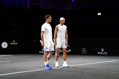 GENEVA, SWITZERLAND - SEPTEMBER 18: Rafael Nadal and Roger Federer of Team Europe look on during a practice session ahead of the Laver Cup 2019 at Palexpo, on September 18, 2019 in Geneva, Switzerland. (The Laver Cup consists of six players from the rest of the World competing against their counterparts from Europe. John McEnroe will captain the Rest of the World team and Europe will be captained by Bjorn Borg) The event runs from 20-22 Sept. (Photo by Clive Brunskill/Getty Images for Laver Cup)