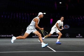 GENEVA, SWITZERLAND - SEPTEMBER 18: Rafael Nadal of Team Europe plays a forehand during a practice session with teammate Roger Federer ahead of the Laver Cup 2019 at Palexpo, on September 18, 2019 in Geneva, Switzerland. (The Laver Cup consists of six players from the rest of the World competing against their counterparts from Europe. John McEnroe will captain the Rest of the World team and Europe will be captained by Bjorn Borg) The event runs from 20-22 Sept. (Photo by Julian Finney/Getty Images for Laver Cup)