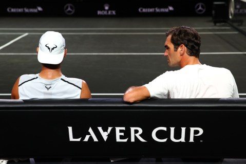 GENEVA, SWITZERLAND - SEPTEMBER 18: Roger Federer of Team Europe speaks with teammate Rafael Nadal as they sit down during a practice session ahead of the Laver Cup 2019 at Palexpo, on September 18, 2019 in Geneva, Switzerland. (The Laver Cup consists of six players from the rest of the World competing against their counterparts from Europe. John McEnroe will captain the Rest of the World team and Europe will be captained by Bjorn Borg) The event runs from 20-22 Sept. (Photo by Clive Brunskill/Getty Images for Laver Cup)