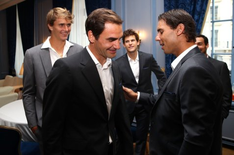 GENEVA, SWITZERLAND - SEPTEMBER 18: Rafael Nadal of Team Europe greets Roger Federer of Team Europe as they as they prepare ahead of the official welcome ceremony prior to the Laver Cup 2019 at Palexpo, on September 18, 2019 in Geneva, Switzerland. (The Laver Cup consists of six players from the rest of the World competing against their counterparts from Europe. John McEnroe will captain the Rest of the World team and Europe will be captained by Bjorn Borg) The event runs from 20-22 Sept. (Photo by Julian Finney/Getty Images for Laver Cup)
