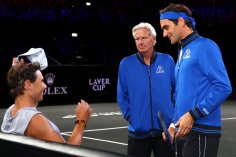 GENEVA, SWITZERLAND - SEPTEMBER 19: Rafael Nadal of Team Europe speaks with Bjorn Borg, Captain of Team Europe and Roger Federer of Team Europe during a practice session ahead of the Laver Cup 2019 at Palexpo on September 19, 2019 in Geneva, Switzerland. The Laver Cup will see six players from the rest of the World competing against their counterparts from Europe. Team World is captained by John McEnroe and Team Europe is captained by Bjorn Borg. The tournament runs from September 20-22. (Photo by Julian Finney/Getty Images for Laver Cup)