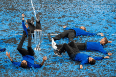 GENEVA, SWITZERLAND - SEPTEMBER 22: Roger Federer with the Team Europe celebrates with the trophy after winning against Team World during Day 3 of the Laver Cup 2019 at Palexpo on September 20, 2019 in Geneva, Switzerland. The Laver Cup will see six players from the rest of the World competing against their counterparts from Europe. Team World is captained by John McEnroe and Team Europe is captained by Bjorn Borg. The tournament runs from September 20-22. (Photo by RvS.Media/Monika Majer/Getty Images)