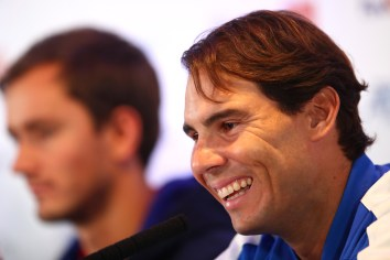 LONDON, ENGLAND - NOVEMBER 08: Rafael Nadal of Spain speaks to the media during previews for the Nitto ATP World Tour Finals at The O2 Arena on November 08, 2019 in London, England. (Photo by Clive Brunskill/Getty Images)