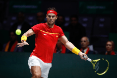 MADRID, SPAIN - NOVEMBER 20: Rafael Nadal of Spain in action during the final match against Denis Shapovalov of Canada during the Day 7 of the 2019 Davis Cup at La Caja Magica on November 24, 2019 in Madrid, Spain. (Photo by Oscar J. Barroso / AFP7 / Europa Press Sports via Getty Images)