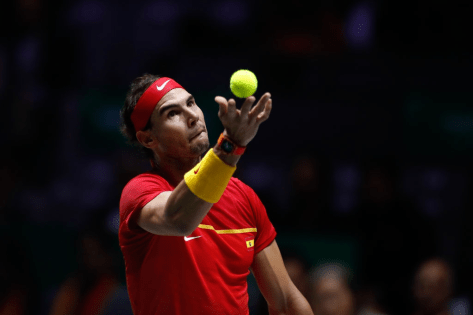 MADRID, SPAIN - NOVEMBER 20: Rafael Nadal of Spain serves during the final match against Denis Shapovalov of Canada during the Day 7 of the 2019 Davis Cup at La Caja Magica on November 24, 2019 in Madrid, Spain. (Photo by Oscar J. Barroso / AFP7 / Europa Press Sports via Getty Images)