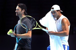 Rafael Nadal and coach Carlos Moya 2019 ATP Finals in London