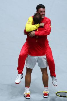 MADRID, SPAIN - NOVEMBER 24: Rafael Nadal of Spain reacts after receiving Player of the Tournament award following his team's victory during Day Seven of the 2019 Davis Cup at La Caja Magica on November 24, 2019 in Madrid, Spain. (Photo by Clive Brunskill/Getty Images)