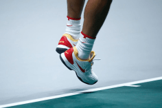 MADRID, SPAIN - NOVEMBER 19: Rafael Nadal of Spain, shoe detail, during his match against Karen Khachanov of Russia during the Day 2 of the 2019 Davis Cup at La Caja Magica on November 19, 2019 in Madrid, Spain. (Photo by Oscar J. Barroso / AFP7 / Europa Press Sports via Getty Images)