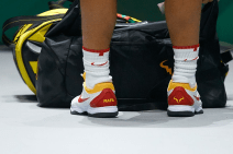 MADRID, SPAIN - NOVEMBER 19: Detail of Rafa Nadal shoes prior to his match against Karen Khachanov of Russia during Day two of the 2019 Davis Cup at La Caja Magica on November 19, 2019 in Madrid, Spain. (Photo by David Aliaga/MB Media/Getty Images)