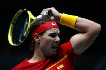 MADRID, SPAIN - NOVEMBER 19: Rafael Nadal, player of Spain Team, in action during his match played against Karen Khachanov, player of Russia Team, Day 2 of the 2019 Davis Cup at La Caja Magica on November 19, 2019 in Madrid, Spain. (Photo by Oscar J. Barroso / AFP7 / Europa Press Sports via Getty Images)