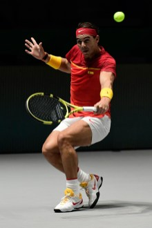 Spain's Rafael Nadal returns the ball to Russia's Karen Khachanov during the singles tennis match between Spain and Russia at the Davis Cup Madrid Finals 2019 in Madrid on November 19, 2019. (Photo by JAVIER SORIANO / AFP) (Photo by JAVIER SORIANO/AFP via Getty Images)