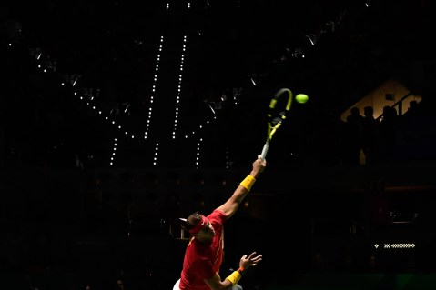 Spain's Rafael Nadal serves the ball to Russia's Karen Khachanov during the singles tennis match between Spain and Russia at the Davis Cup Madrid Finals 2019 in Madrid on November 19, 2019. (Photo by JAVIER SORIANO / AFP) (Photo by JAVIER SORIANO/AFP via Getty Images)