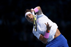 LONDON, ENGLAND - NOVEMBER 11: Rafael Nadal of Spain serves in his singles match against Alexander Zverev of Germany during Day Two of the Nitto ATP World Tour Finals at The O2 Arena on November 11, 2019 in London, England. (Photo by Julian Finney/Getty Images)
