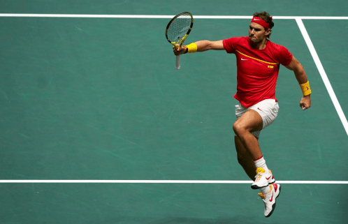 MADRID, SPAIN - NOVEMBER 23: Rafael Nadal of Spain celebrates winning match point in their semi final doubles match against Great Britain on Day Six of the 2019 Davis Cup at La Caja Magica on November 23, 2019 in Madrid, Spain. (Photo by fotopress/Getty Images)