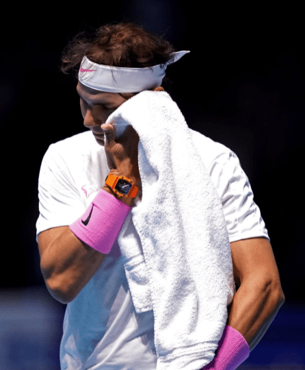 Rafael Nadal wipes his face on day two of the Nitto ATP Finals at The O2 Arena, London. (Photo by John Walton/PA Images via Getty Images)