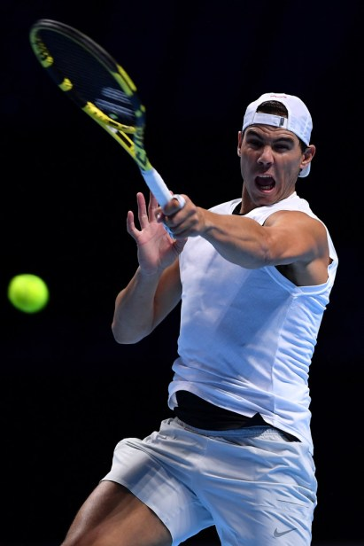LONDON, ENGLAND - NOVEMBER 09: Rafael Nadal of Spain plays a forehand during practice ahead of the Nitto ATP World Tour Finals at The O2 Arena on November 09, 2019 in London, England. (Photo by Justin Setterfield/Getty Images)