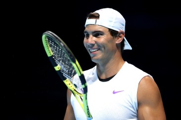 LONDON, ENGLAND - NOVEMBER 08: Rafael Nadal of Spain smiles in a practice session during previews for the Nitto ATP World Tour Finals at The O2 Arena on November 08, 2019 in London, England. (Photo by Alex Pantling/Getty Images)