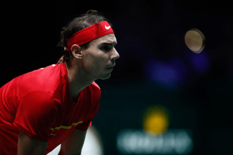 MADRID, SPAIN - NOVEMBER 20: Rafael Nadal of Spain looks on during his doubles match played with Marcel Granollers against Ivan Dodig and Mate Pavic of Croatia during the Day 3 of the 2019 Davis Cup at La Caja Magica on November 20, 2019 in Madrid, Spain. (Photo by Oscar J. Barroso / AFP7 / Europa Press Sports via Getty Images)