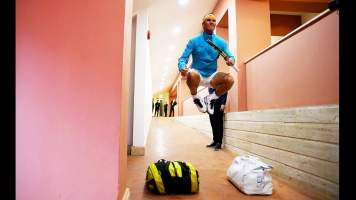 """Rome 2019: """"Another behind the scenes images, this time showing Rafa Nadal preparing for his semi-final match at the Internazionali BNL d'Italia, where his first tournament victory of 2019 came. I'm always amazed how high he jumps and how close he allows me to get. Thanks Rafa as it makes an amazing photo!"""" - Clive Brunskill"""